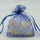 Gold Snowflake Blue Organza Wedding Favour Gift Bags Pouches 7x9,9x12,13x17cm