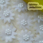 White Organza Flower With Cluster Beads Sewing Scrapbooking Appliques Trim JM7B