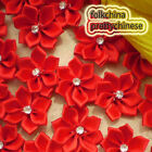 Red Polyester Ribbons Floral With Bead Sewing Scrapbooking Appliques JM9B