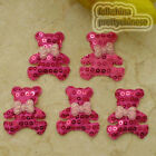 Hot Pink Cute Bear Sequin Appliques Padded Craft Sewing Scrapbooking Trim XHCT