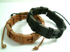 A Men's Women's Real Leather Bracelet  with Hemp Cords Wristband Tribal Surfer