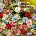 Mixed Polyester Ribbon Roses Leaf 15mm Appliques Scrapbooking Sewing Craft JMPSL