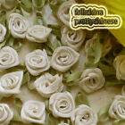 Cream Polyester Ribbon Roses Leaf 15mm Appliques Scrapbooking Sewing JMPSL03