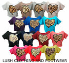 GIRLS / WOMENS ANIMAL LEOPARD HEART PRINT CROP CROPPED TOP / T-SHIRT-SIZE 8-14