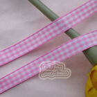 50 Yds/Roll Pink Gingham Scotish Ribbons 6mm,10mm,15mm,18mm,24mm E1-1