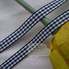 50 Yds/Roll Black Gingham Scotish Ribbons 6mm,10mm,15mm,18mm,24mm E1-6