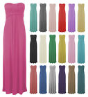WOMENS LADIES BOOBTUBE KNOTTED FRONT STRAPLESS BANDEAU MAXI LONG DRESS-SIZE 8-22