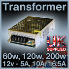12V Transformers 60W 5A, 120W 10A and 200W 16.5A for use with LED Lights / Bulbs