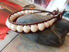 WRAP Distressed Brown LEATHER BRACELET Champagne Czech BEADS Earthy Organic look