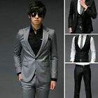 New Mens Fashion Stylish Slim Fit One Buttons Suit 2Colors Grey Black