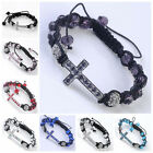 8 Color Crystal Disco Ball Faceted Rondelle Cross Woven Macrame Bracelet Pave 1P