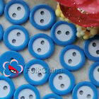 Blue 2 Holes 11mm Plastic Buttons Sewing Craft Scrapbooking PCB-B02