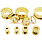 GOLD PLATED SCREW-FIX 316L STAINLESS STEEL EAR FLESH TUNNEL PLUG - 2mm to 25mm