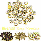 100 x Clear Crystals in Gold Casing Sew On Glass Crystals, Rhinestones,Gems,3555