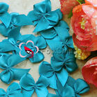 Teal Satin 20mm Bows Satin Ribbons 10mm Appliques Scrapbook Cardmaking JMBOW10