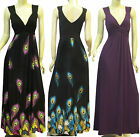 New Double V Neck Peacock Prints Party Summer Maxi Beach Dress