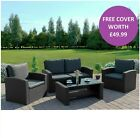 Rattan Wicker Weave Garden Furniture Conservatory Sofa Set + FREE COVER