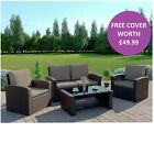 Rattan Wicker Weave Garden Furniture Conservatory Sofa Set 4 Seat Armchair Table