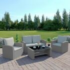 Rattan Garden Furniture Conservatory Sofa Set 4 Seat Armchair Table