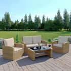 Rattan Wicker Weave Garden Furniture Conservatory Sofa Set + FREE COVER 4 Seater