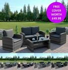 Rattan Wicker Weave Garden Furniture Conservatory Sofa Set + FREE RAIN COVER