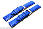 Blue Genuine Leather Crocodile Pattern Watch Strap