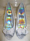 """Ladies Spot On Silver Satin Peep Toe Shoes with Bow 2.5"""" Heel F1876"""
