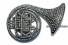 DIAMANTE TRUMPET SILVER BELT BUCKLE FOR SNAP ON LEATHER & PYRAMID STUDDED BELT