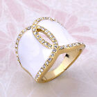 14K Gold Plated Ring,Pave Swarovski Crystal White Leaves Size 6-8