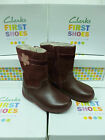 "SALE: Clarks Girls First Wine Leather Boots ""SOFTLY SO FST"" F-Fitting"