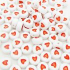 100 x Red Love Heart Letter Beads White Base 7x4mm Hole 1mm Match Alphabet Beads