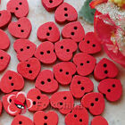 Red Heart 15mm Wood Buttons Sewing Scrapbooking Cardmaking Craft NCB017-7