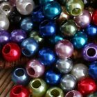Smooth Simulated Pearl Acrylic Round Big Hole European Beads For Charm Bracelet