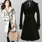 f3 Chic Women Double-breasted Belted Trench Coat UK6 8 10 12  Ruffled 2 Colors