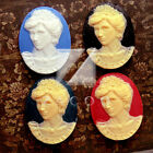 Resin Vintage Flatback Oval Princess Diana Cabochon Cameo Lots 40x30mm