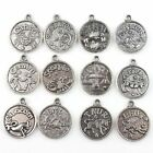 New Alloy Pendants Antique Silvery Charms Mixed Constellation Signs Of Zodiac
