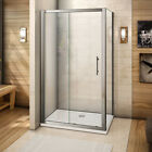 Shower Enclosure Sliding Door Walk In Glass Cubicle Screen Stone Tray Bathroom