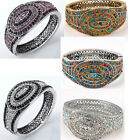 Pave Full Crystal Oval Bangle Bracelet Gold-tone & Silver-tone Selectable