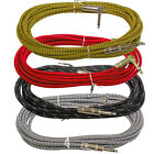 Braided tweed Right angle to straight guitar keyboard bass vintage style cable