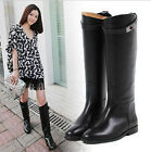 Women genuine leather knee high heeled riding boots Black Brown