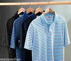 ASHWORTH Golf Mens S-2XL 3XL 4XL Dual Tone Golfman Pique Stripe POLO Shirts $75