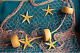 12 X 8   FISHING NETS FLOATS STARFISH  NAUTICAL BEACH THEME Decorative
