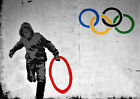 Thug Stealing Red Olympic Ring Banksy 2012 Art Print Poster A4 A3 A2 A1
