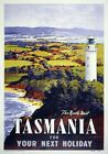 Tasmania, For Your Next Holiday. Vintage Travel Poster print by James Northfield