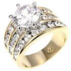 4 Ct Round Cubic Zirconia 3 Row CZ Accent Gold Plated Brass Wedding Ring