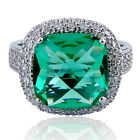 16 Ct Cushion Cut Green Emerald Simulated Women's Engagement Wedding Ring