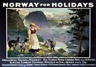 Norway for Holidays Newcastle Bergen.Vintage B&N Line Travel Poster print, c1930