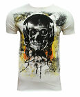 Dunnes Mens Lightweight T Shirt Skeleton Head With Glasses Rock Ecru