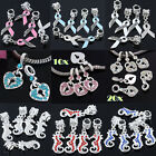 5/10/20pc Sea Horse Heart Ribbon Crystal Glass European Charm Beads Fit Bracelet