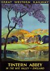 Tintern Abbey, Monmouthshire. GWR Vintage Travel Poster by Frieda Lingstrom 1930